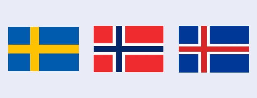Les drapeaux de la Suède, l'Islande et la Norvège utilisent la croix